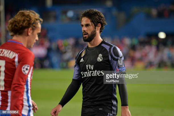 Isco of Madrid during the match between Real Madrid CF vs Atletico de Madrid as part of EUFA Champions League at Estadio Santiago Bernabeu on May 10...