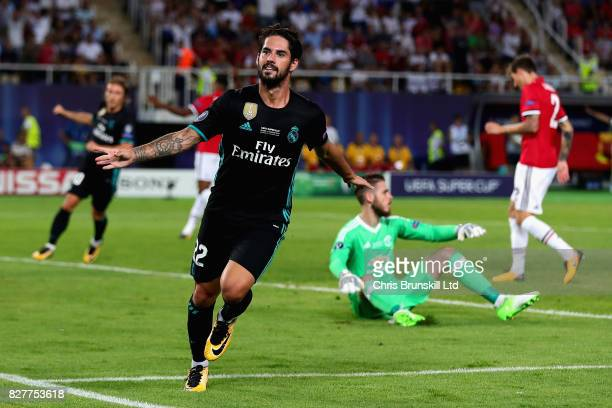 Isco of Real Madrid celebrates after scoring his sides second goal during the UEFA Super Cup match between Real Madrid and Manchester United at...