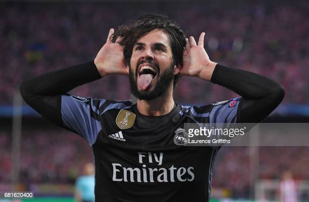 Isco of Real Madrid celebrates scoring his team's opening goal during the UEFA Champions League Semi Final second leg match between Club Atletico de...