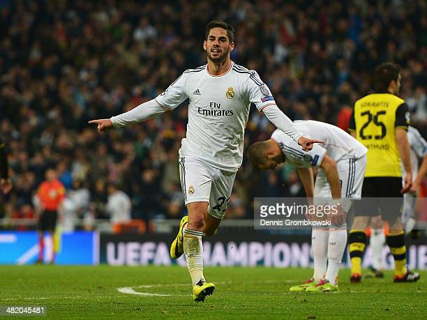 Isco of Real Madrid celebrates scoring his team's second goal during the UEFA Champions League Quarter Final first leg match between Real Madrid and...