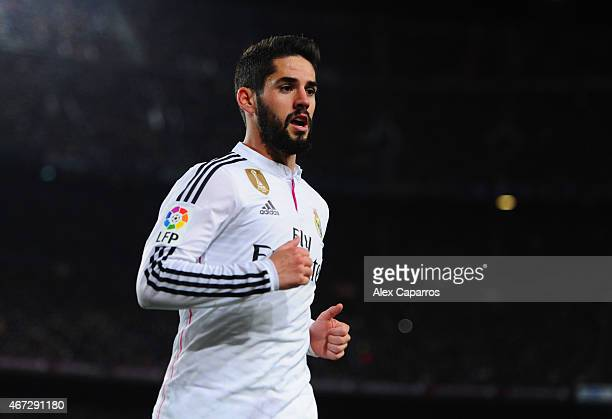Isco of Real Madrid CF in action during the La Liga match between FC Barcelona and Real Madrid CF at Camp Nou on March 22 2015 in Barcelona Spain