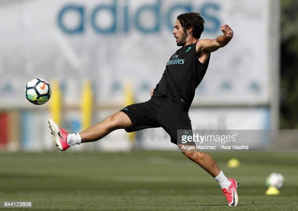 Isco of Real Madrid in action during a training session at Valdebebas training ground on September 8 2017 in Madrid Spain