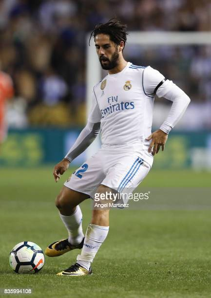 Isco of Real Madrid in action during the La Liga match between Deportivo La Coruna and Real Madrid CF at Riazor Stadium on August 20 2017 in La...
