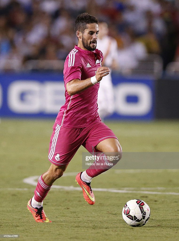 Isco of Real Madrid in actions during the pre-season between Real Madrid and Roma at Guinness International Champions Cup 2014 game at Cotton Bowl on July 29, 2014 in Dallas, Texas.