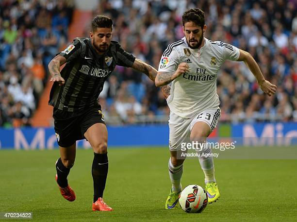 Isco of Real Madrid is in action during the La Liga match between Real Madrid and Malaga at Estadio Santiago Bernabeu in Madrid Spain on April 18 2015