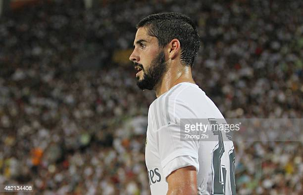 Isco of Real Madrid looks on during the International Champions Cup China 2015 match between Real Madrid and FC Internazionale at Tianhe Stadium on...