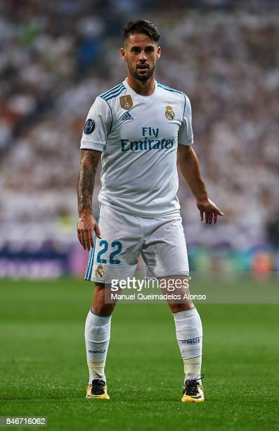 Isco of Real Madrid looks on during the UEFA Champions League group H match between Real Madrid and APOEL Nikosia at Estadio Santiago Bernabeu on...