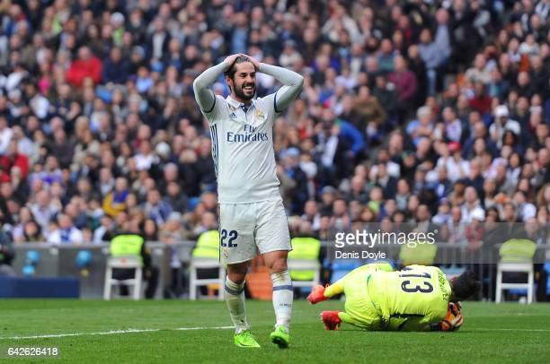 Isco of Real Madrid reacts during the La Liga match between Real Madrid CF and RCD Espanyol at the Bernabeu stadium on February 18 2017 in Madrid...