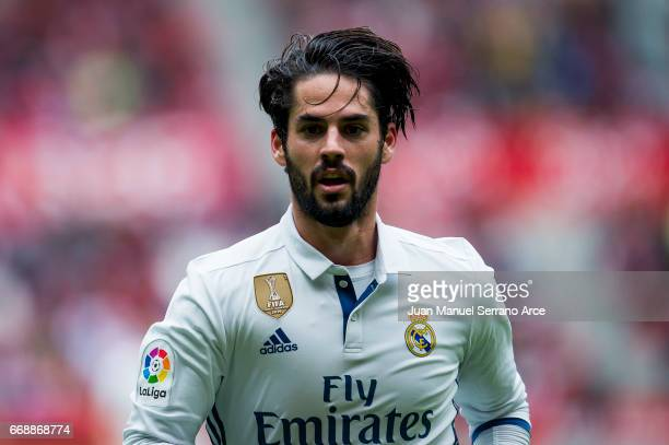 Isco of Real Madrid reacts during the La Liga match between Real Sporting de Gijon and Real Madrid at Estadio El Molinon on April 15 2017 in Gijon...