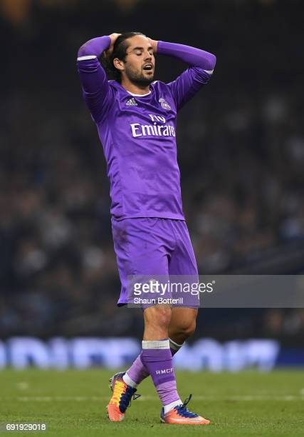 Isco of Real Madrid reacts during the UEFA Champions League Final between Juventus and Real Madrid at National Stadium of Wales on June 3 2017 in...