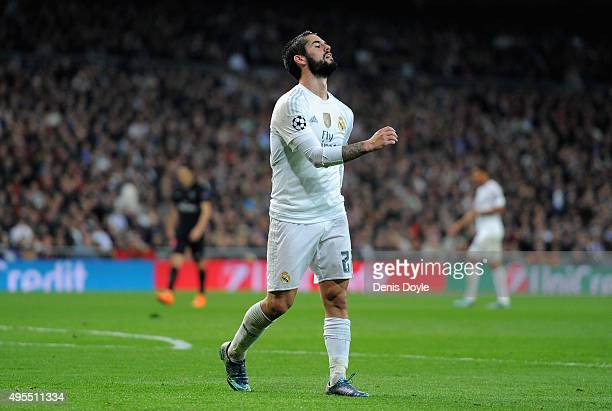 Isco of Real Madrid reacts during the UEFA Champions League Group A match between Real Madrid CF and Paris SaintGermain at Estadio Santiago Bernabeu...