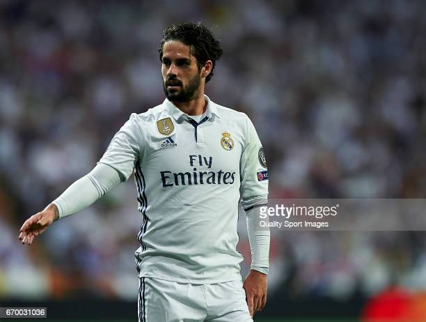Isco of Real Madrid reacts during the UEFA Champions League Quarter Final second leg match between Real Madrid CF and FC Bayern Muenchen at Estadio...