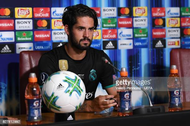 Isco of real Madrid talks with the media during a press conference after the UEFA Super Cup between Real Madrid and Manchester United at Nacional...