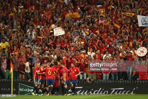 Isco of Spain celebrates scoring a goal to make the score 10 during the FIFA 2018 World Cup Qualifier between Spain and Italy at Estadio Santiago...