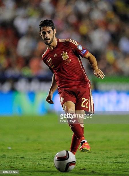 Isco of Spain in action during the UEFA EURO 2016 Group C Qualifier between Spain and FYR of Macedonia at Estadio Ciutat de Valencia on September 8...
