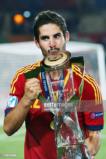 Isco of Spain kisses the trophy after winning the UEFA European U21 Championship final match against Italy at Teddy Stadium on June 18 2013 in...