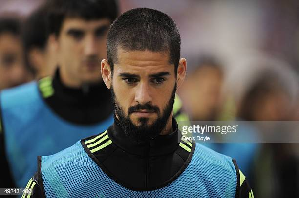 Isco of Spain looks on before the UEFA EURO 2016 Qualifier group C match between Spain and Luxembourg at Estadio Municipal Las Gaunas on October 9...