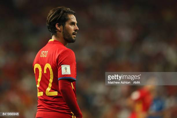 Isco of Spain looks on during the FIFA 2018 World Cup Qualifier between Spain and Italy at Estadio Santiago Bernabeu on September 2 2017 in Madrid...