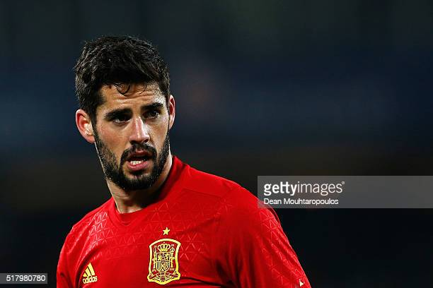 Isco of Spain looks on during the International Friendly match between Romania and Spain held at the Cluj Arena on March 27 2016 in ClujNapoca Romania