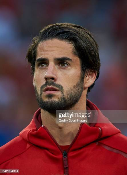 Isco of Spain looks on prior the FIFA 2018 World Cup Qualifier between Spain and Italy at Estadio Santiago Bernabeu on September 2 2017 in Madrid...