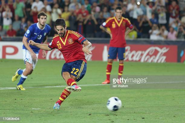 Isco of Spain scores a penalty during the UEFA European U21 Championships Final match between Spain and Italy at Teddy Stadium on June 18 2013 in...