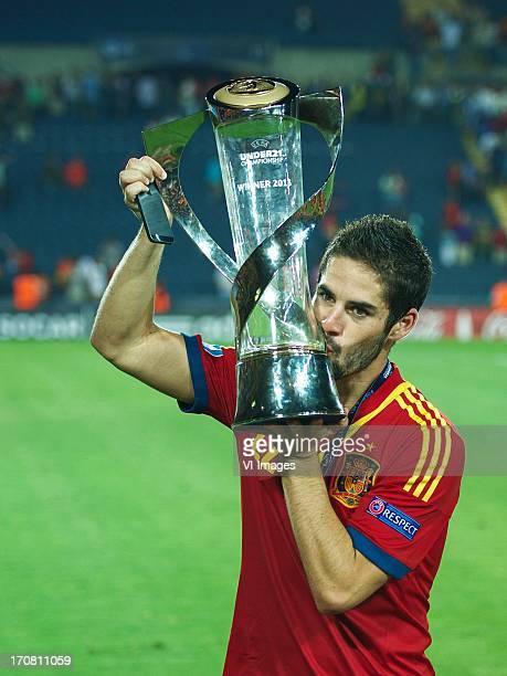 Isco of Spain U21 with cup during the UEFA Euro U21 final match between Italy U21 and Spain U21 on June 18 2013 at the Teddy stadium in Jerusalem...