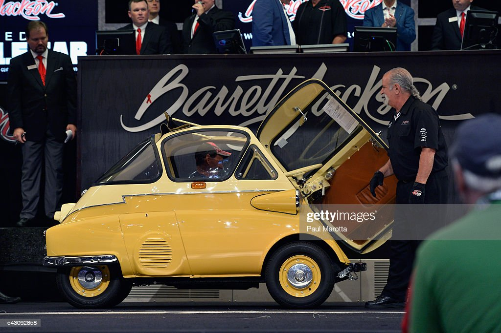 Isetta is auctioned at the Barrett-Jackson Inaugural Northeast Auction at Mohegan Sun Arena on June 25, 2016 in Uncasville, Connecticut. Organizers estimated app. 70,000 vistors attended the three day auction June 23-25 during which hundreds of collectors were sold at auction.