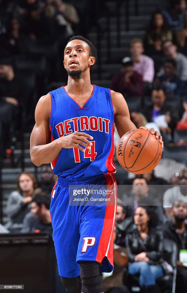 Ish Smith #14 of the Detroit Pistons dribbles up the court against the Brooklyn Nets on November 2,2016 at Barclays Center in Brooklyn, New York.