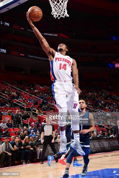 Ish Smith of the Detroit Pistons drives to the basket against the Minnesota Timberwolves on October 25 2017 at Little Caesars Arena in Detroit...