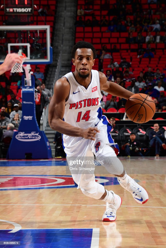 Ish Smith #14 of the Detroit Pistons handles the ball against the Atlanta Hawks on October 6, 2017 at Little Caesars Arena in Detroit, Michigan.