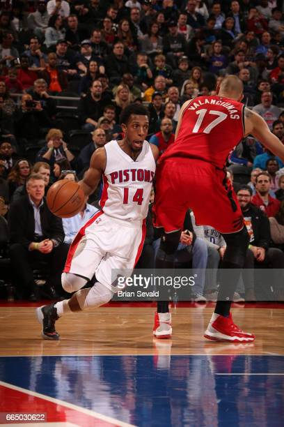 Ish Smith of the Detroit Pistons handles the ball against the Toronto Raptors on April 5 2017 at The Palace of Auburn Hills in Auburn Hills Michigan...