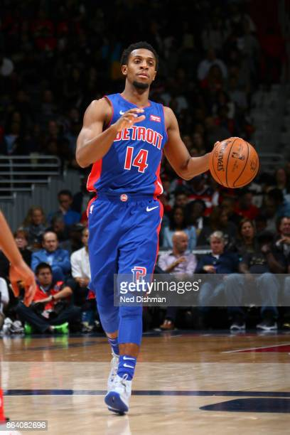 Ish Smith of the Detroit Pistons handles the ball during game against the Washington Wizards on October 20 2017 at Capital One Arena in Washington DC...