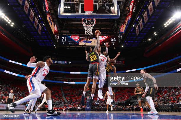 Ish Smith of the Detroit Pistons shoots a lay up against the Atlanta Hawks on October 6 2017 at Little Caesars Arena in Detroit Michigan NOTE TO USER...