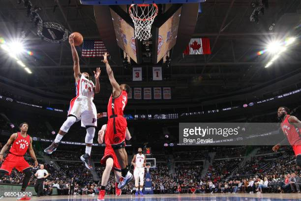 Ish Smith of the Detroit Pistons shoots the ball against the Toronto Raptors on April 5 2017 at The Palace of Auburn Hills in Auburn Hills Michigan...