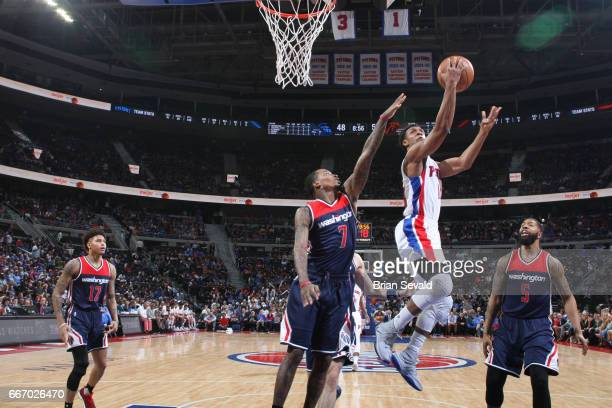 Ish Smith of the Detroit Pistons shoots the ball against the Washington Wizards on April 10 2017 at The Palace of Auburn Hills in Auburn Hills...