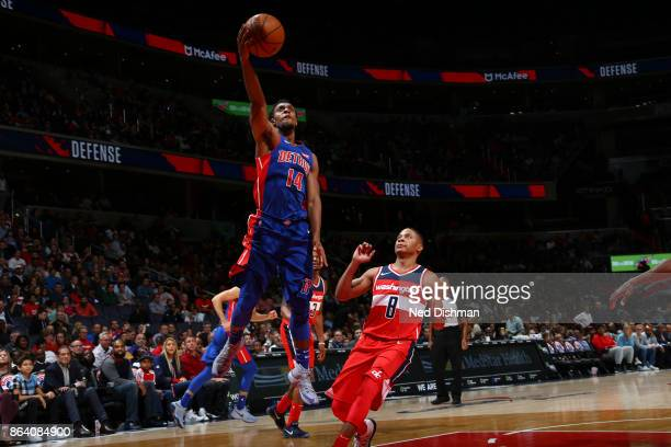 Ish Smith of the Detroit Pistons shoots the ball during game against the Washington Wizards on October 20 2017 at Capital One Arena in Washington DC...
