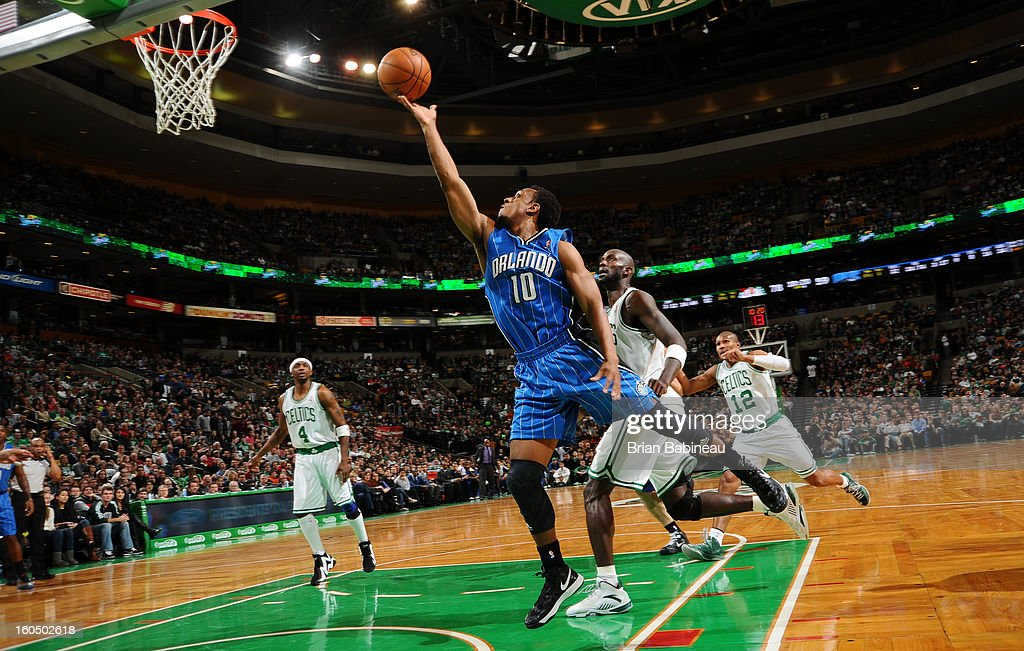 Ish Smith #10 of the Orlando Magic shoots against <a gi-track='captionPersonalityLinkClicked' href=/galleries/search?phrase=Kevin+Garnett&family=editorial&specificpeople=201473 ng-click='$event.stopPropagation()'>Kevin Garnett</a> #5 of the Boston Celtics on February 1, 2013 at the TD Garden in Boston, Massachusetts.