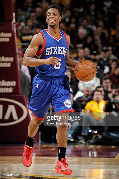 Ish Smith of the Philadelphia 76ers handles the ball against the Cleveland Cavaliers on March 29 2015 at Quicken Loans Arena in Cleveland Ohio NOTE...
