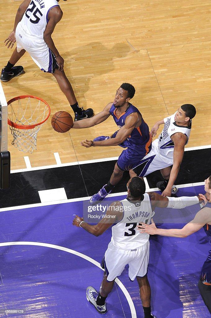 Ish Smith #3 of the Phoenix Suns shoots a layup against the Sacramento Kings on April16, 2014 at Sleep Train Arena in Sacramento, California.