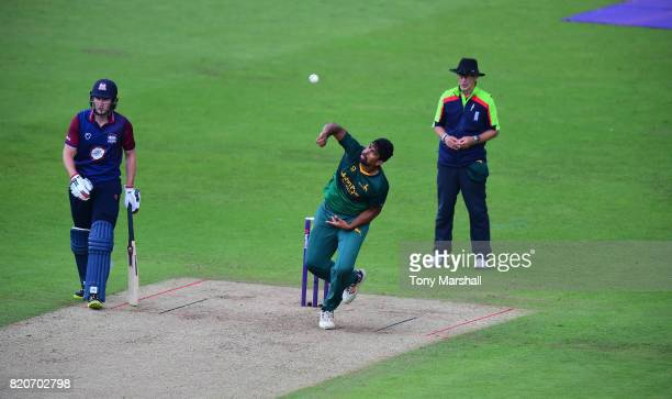 Ish Sodhi of Nottinghamshire Outlaws bowls during the NatWest T20 Blast between Nottinghamshire Outlaws and Northamptonshire Steelbacks at Trent...