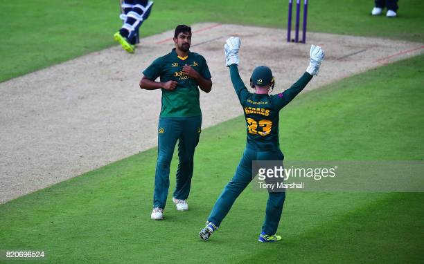 Ish Sodhi of Nottinghamshire Outlaws celebrates taking the wicket of Rob Keogh of Northamptonshire Steelbacks during the NatWest T20 Blast between...