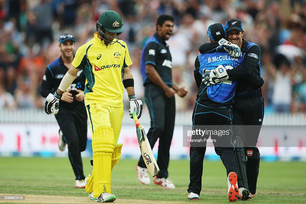 <a gi-track='captionPersonalityLinkClicked' href=/galleries/search?phrase=Ish+Sodhi&family=editorial&specificpeople=9129588 ng-click='$event.stopPropagation()'>Ish Sodhi</a> of the Black Caps celebrates the wicket of <a gi-track='captionPersonalityLinkClicked' href=/galleries/search?phrase=Glenn+Maxwell&family=editorial&specificpeople=752174 ng-click='$event.stopPropagation()'>Glenn Maxwell</a> of Australia wit <a gi-track='captionPersonalityLinkClicked' href=/galleries/search?phrase=Brendon+McCullum&family=editorial&specificpeople=208154 ng-click='$event.stopPropagation()'>Brendon McCullum</a> and <a gi-track='captionPersonalityLinkClicked' href=/galleries/search?phrase=Luke+Ronchi&family=editorial&specificpeople=724790 ng-click='$event.stopPropagation()'>Luke Ronchi</a> during the 3rd One Day International cricket match between the New Zealand Black Caps and Australia at Seddon Park on February 8, 2016 in Hamilton, New Zealand.