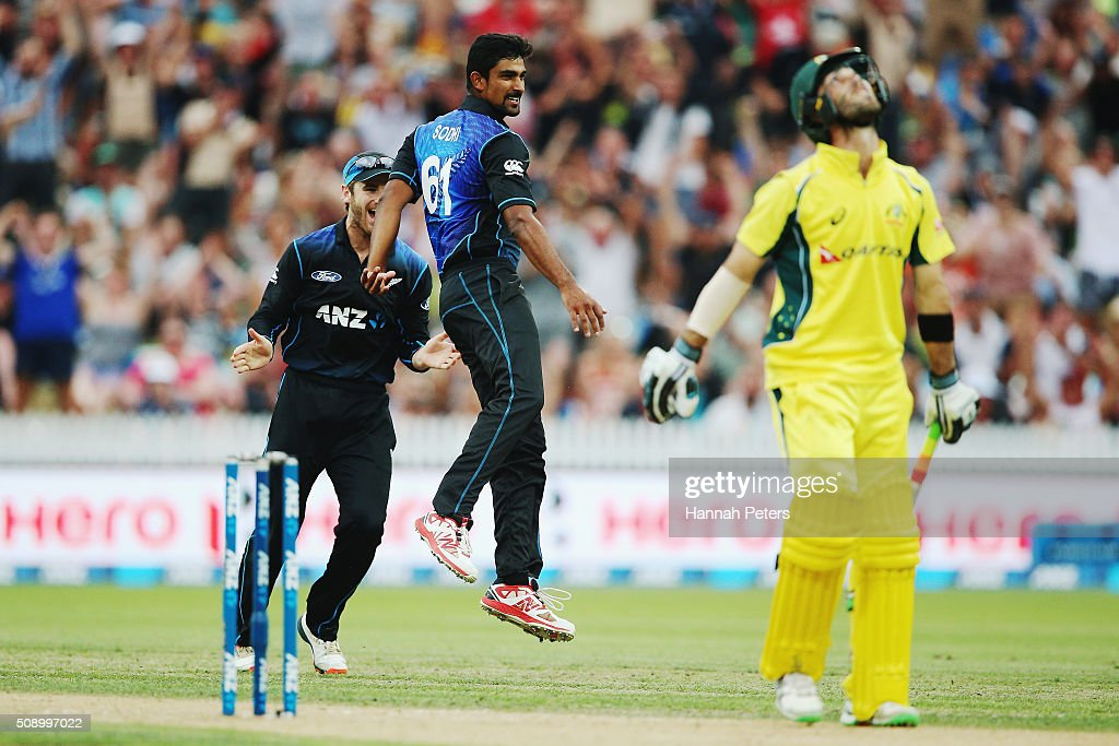 <a gi-track='captionPersonalityLinkClicked' href=/galleries/search?phrase=Ish+Sodhi&family=editorial&specificpeople=9129588 ng-click='$event.stopPropagation()'>Ish Sodhi</a> of the Black Caps celebrates the wicket of Glenn Maxwell of Australia with <a gi-track='captionPersonalityLinkClicked' href=/galleries/search?phrase=Kane+Williamson&family=editorial&specificpeople=4738503 ng-click='$event.stopPropagation()'>Kane Williamson</a> of the Black Caps during the 3rd One Day International cricket match between the New Zealand Black Caps and Australia at Seddon Park on February 8, 2016 in Hamilton, New Zealand.