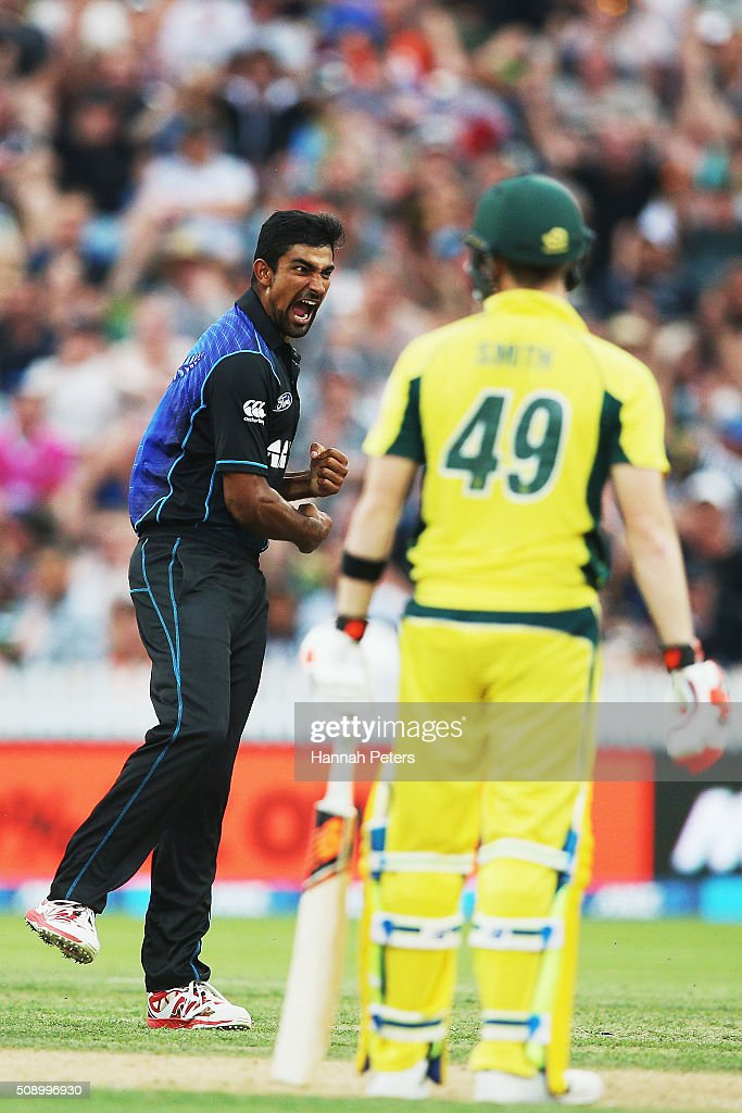 <a gi-track='captionPersonalityLinkClicked' href=/galleries/search?phrase=Ish+Sodhi&family=editorial&specificpeople=9129588 ng-click='$event.stopPropagation()'>Ish Sodhi</a> of the Black Caps celebrates the wicket of Steve Smith of Australia during the 3rd One Day International cricket match between the New Zealand Black Caps and Australia at Seddon Park on February 8, 2016 in Hamilton, New Zealand.