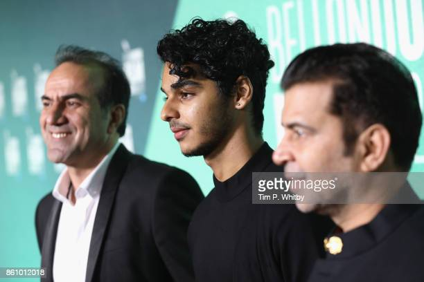 Ishaan Khatter producer Kishor Arora and a guest attend the World Premiere of 'Beyond The Clouds' during the 61st BFI London Film Festival on October...