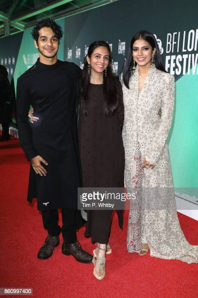 Ishaan Khatter producer Shareen Mantri Kedia and Malavika Mohanan attend the World Premiere of 'Beyond The Clouds' during the 61st BFI London Film...