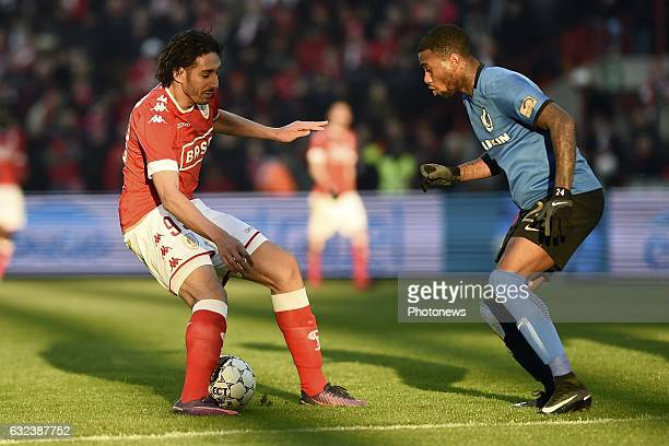 Ishak Belfodil forward of Standard Liege and Stefano Denswil defender of Club Brugge during the Jupiler Pro League match between Standard de Liege...