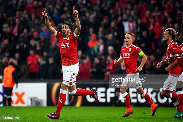 Ishak Belfodil forward of Standard Liege celebrates scoring a goal during the Europa League group G math between Standard Liege and Panathinaikos on...