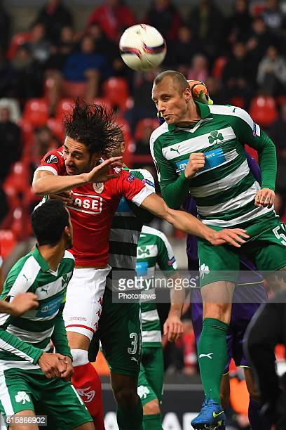 Ishak Belfodil forward of Standard Liege Ivan Ivanov of Panathinaikos during the Europa League group G math between Standard Liege and Panathinaikos...