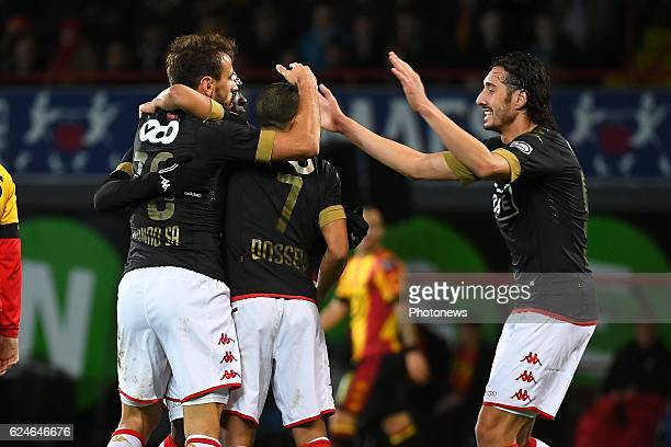 Ishak Belfodil forward of Standard Liege Orlando Sa forward of Standard Liege celebrates scoring a goal with teammates during the Jupiler Pro League...